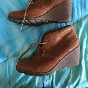 Sperry brown wedge booties